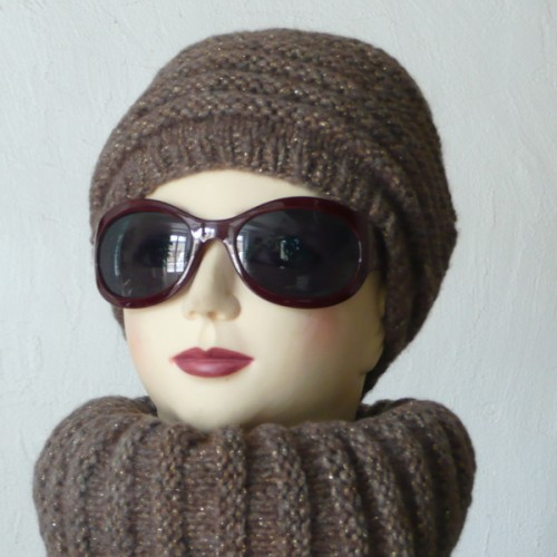 bonnet+snood marron doré